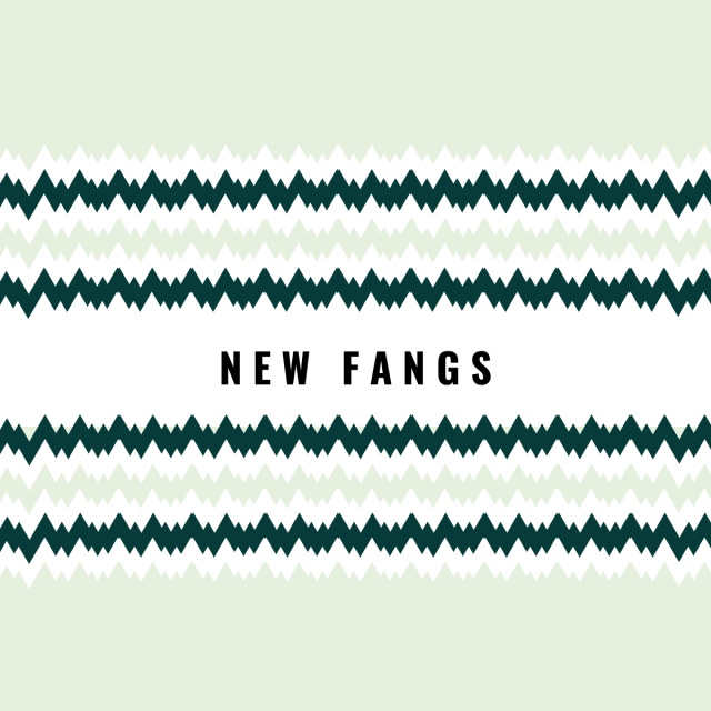 "Graphic art with zigzags and text ""NEW FANGS"""